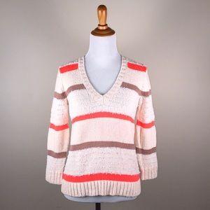 NWT J. Crew Collection V-Neck Neon Stripe Sweater